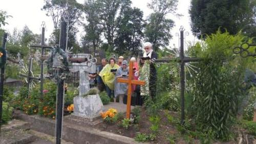 Grave site service for Bl. Vasyl's mother in Ternopil