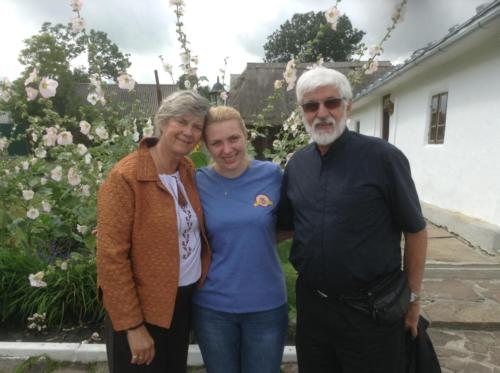 Fr. John and Mary Jane meet with a close friend Iryna at the Cardinal Slypj Museum in Zazdrist