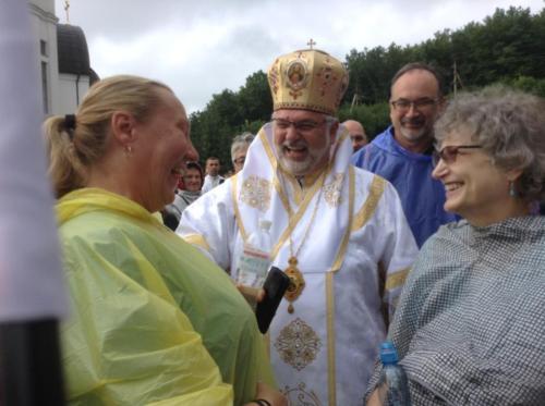 Pilgrims greeting Bishop Brian Bayda, C.s.s.r. from Saskatoon, SK, Canada