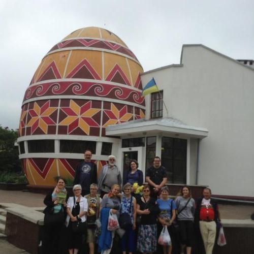 Visiting a museum of displayed pysanka (easter eggs) in Kolomyia
