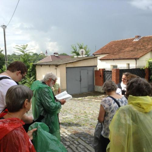 Fr. John giving background history at St. Nicholas Church where Bl. Vasyl was pastor in 1941