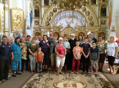 Pilgrims and locals having an Acathist service and anointing of holy oil in Shuparka (Home village of Bl. Vasyl)